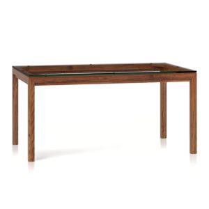 Glass Top/ Elm Base 60x36 Dining Table