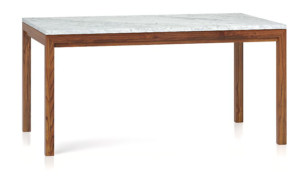 Marble Top Elm Base 60x36 Dining Table Crate And Barrel