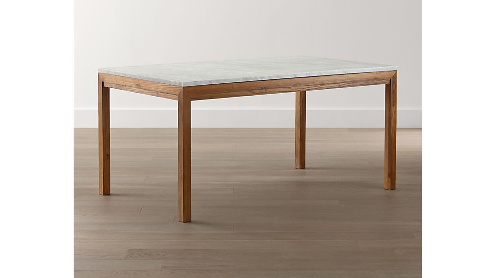 Marble Top/ Elm Base 48x28 High Dining Table