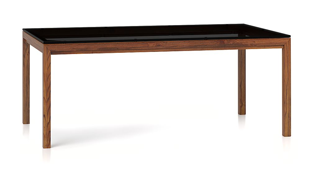 Grey Glass Top/ Elm Base 72x42 Dining Table