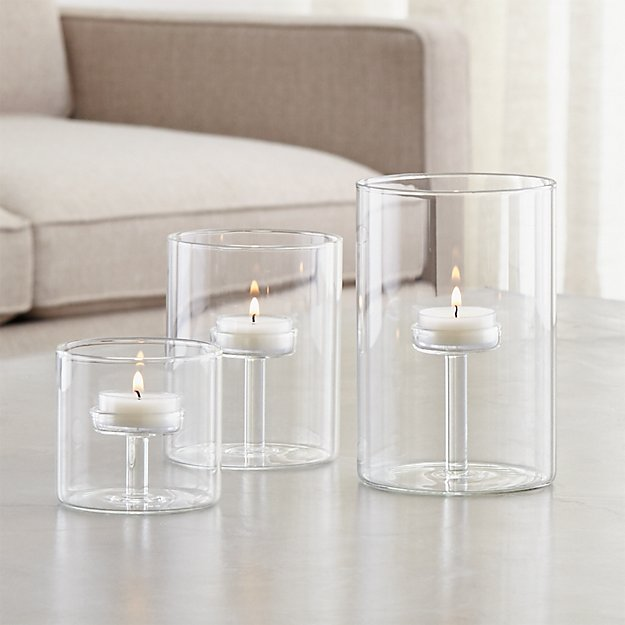 Elsa glass tealight holders crate and barrel for How to make glass candle holders