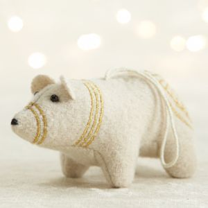 Gold Embroidered Felt Polar Bear Ornament