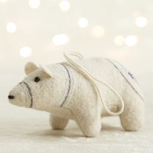 Silver Embroidered Felt Polar Bear Ornament