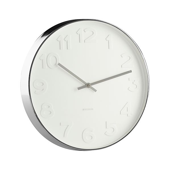 "Embossed Numbers 15"" Wall Clock"