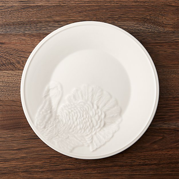 Embossed Turkey Dinner Plate | Crate and Barrel