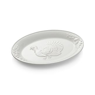 Embossed White Turkey Platter