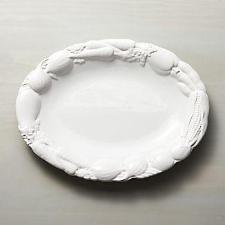 Embossed White Veggie Platter