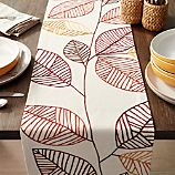 "Embroidered Leaves 90"" Table Runner"