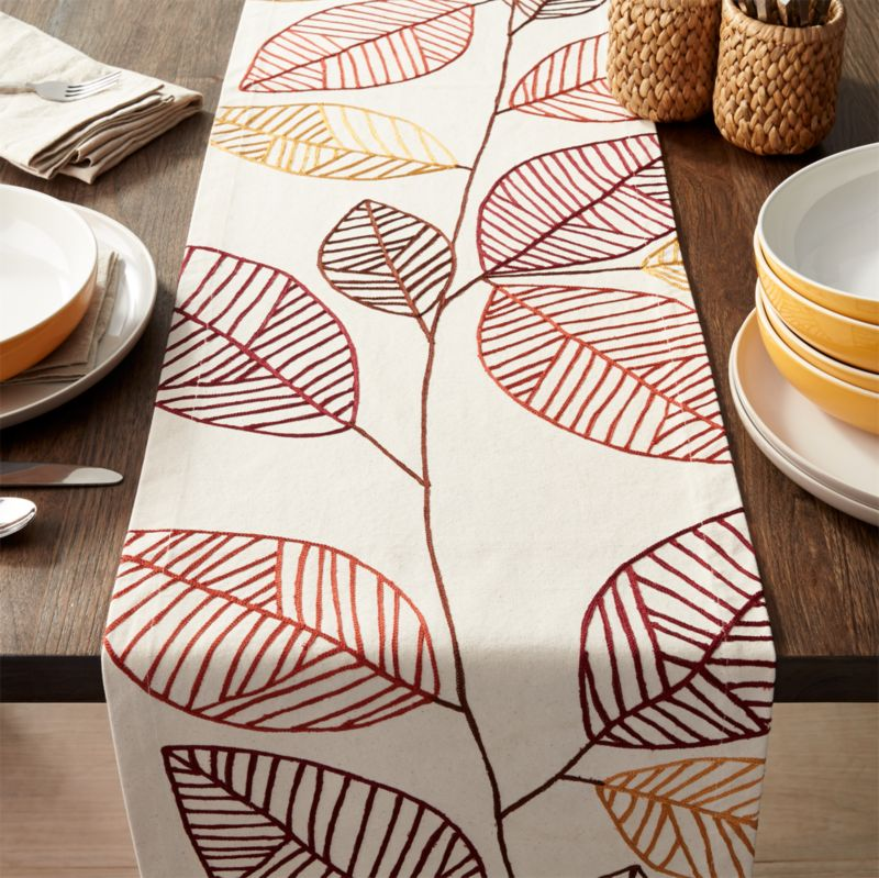 Embroidered Leaves Runner 120""