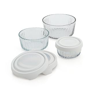 Embossed Glass 6-Piece Food Storage with TrueSeal White Lids
