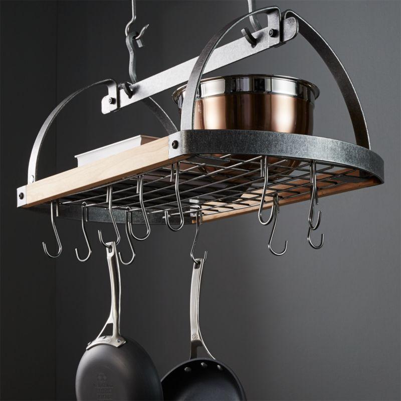 Enclume ® Hammered Steel/Wood Oval Ceiling Pot Rack ...
