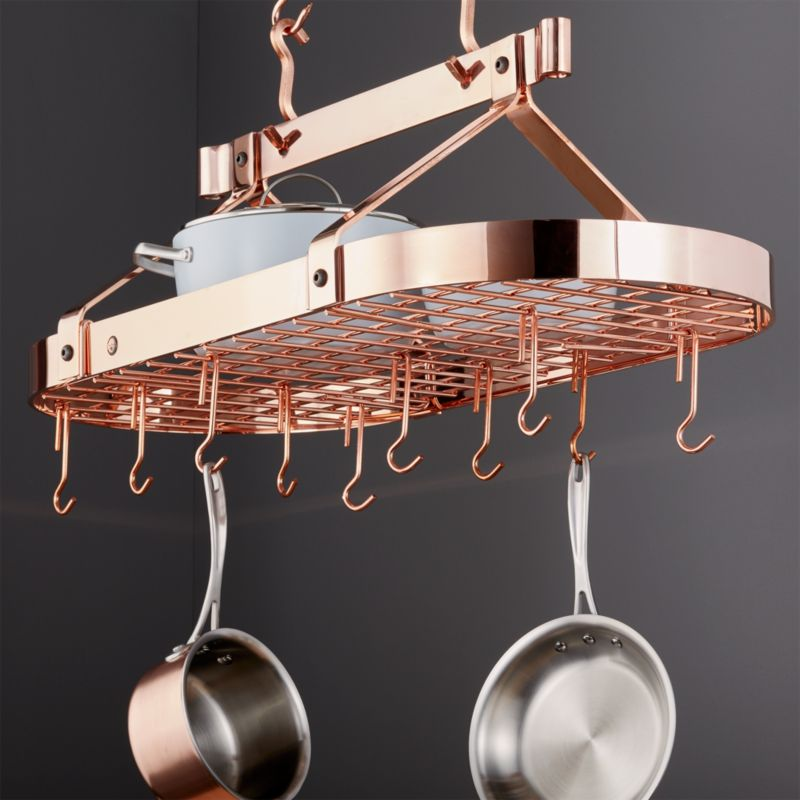 Enclume 174 Oval Copper Ceiling Pot Rack Crate And Barrel