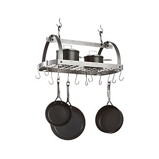 Enclume Hammered Steel Oval Hanging Pot Rack