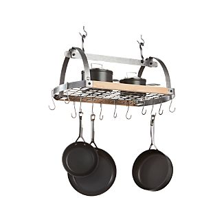 Enclume Hammered Steel/Wood Oval Ceiling Pot Rack