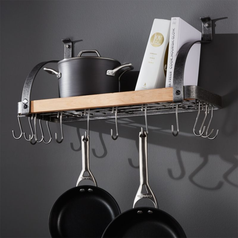 Enclume 174 Steel And Wood Bookshelf Wall Pot Rack Crate