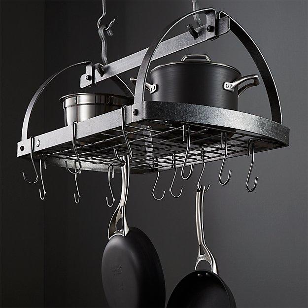 Enclume ® Hammered Steel Oval Hanging Pot Rack