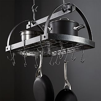 Enclume ® Hammered Steel Oval Hanging Pot Rack