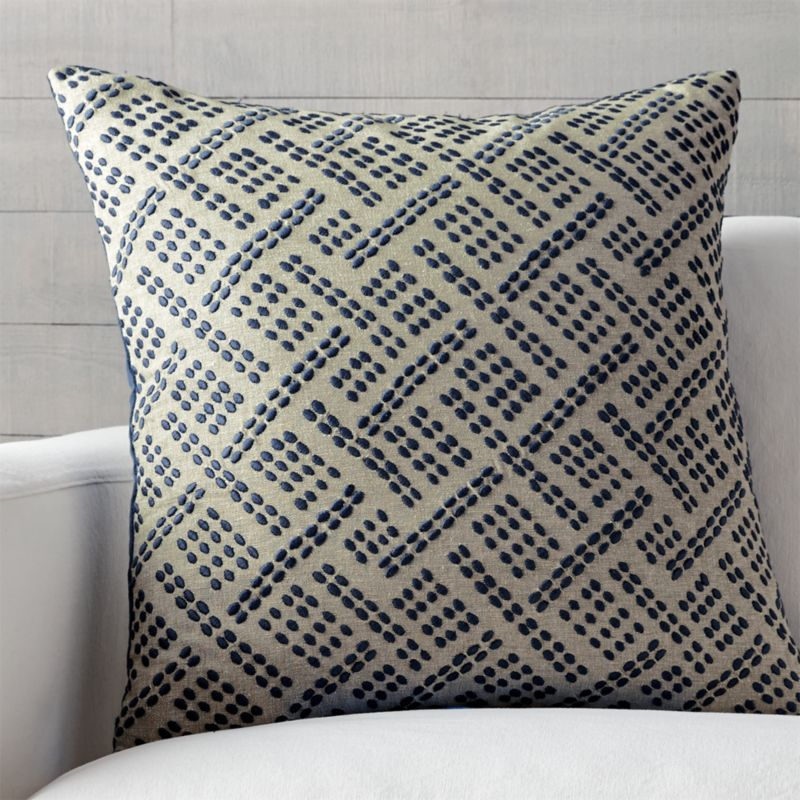 "Ernest Indigo 23"" Pillow with Feather-Down Insert"