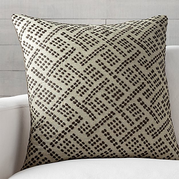 "Ernest Taupe 23"" Pillow with Feather-Down Insert"