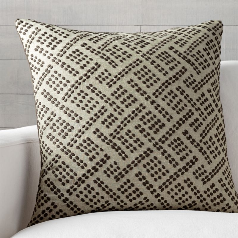 "Ernest Taupe 23"" Pillow with Down-Alternative Insert"