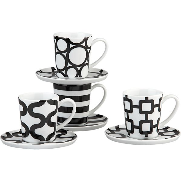Set of 4 Graphic Espresso Cups and Saucers