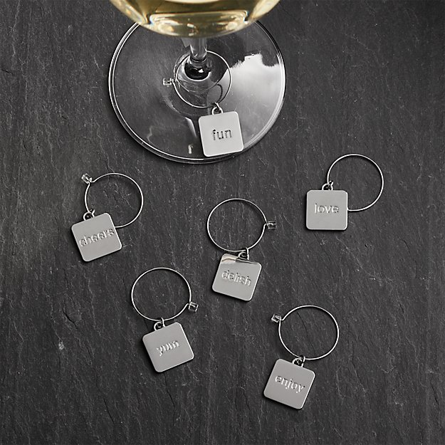 Set of 6 Everyday Word Wine Charms