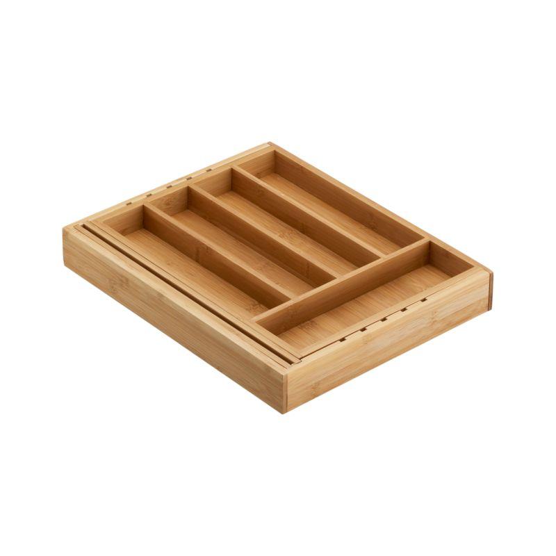 Expandable Bamboo Flatware Tray