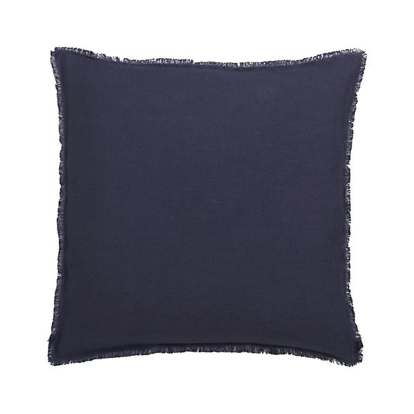 "Eyelash Navy 20"" Pillow with Feather Insert"