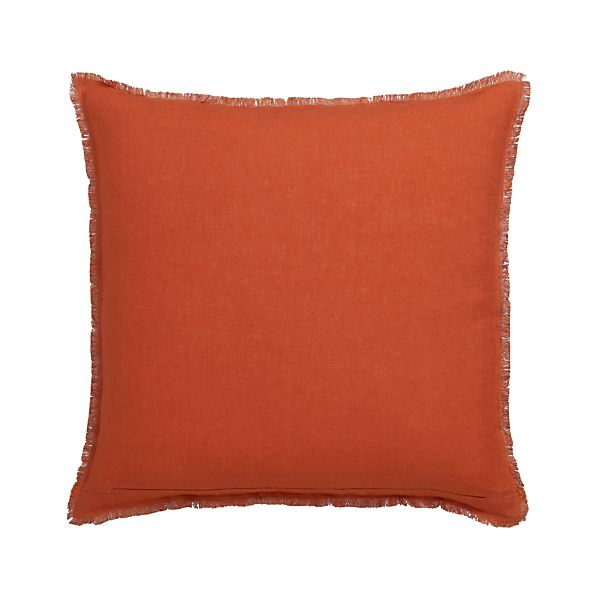 "Eyelash Orange and Wine 20"" Pillow with Feather-Down Insert"