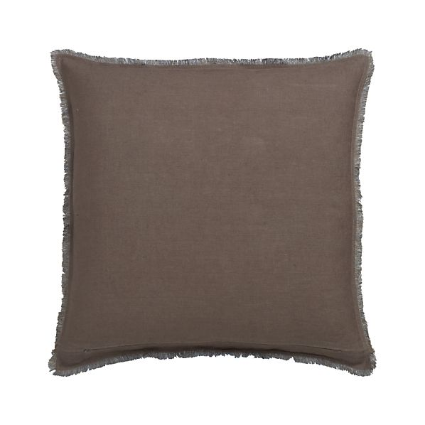 "Eyelash Taupe and Blue 20"" Pillow with Feather Insert"