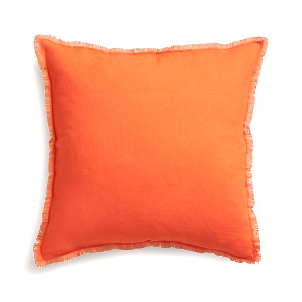"Eyelash Orange and Grey 20"" Pillow with Feather Insert"