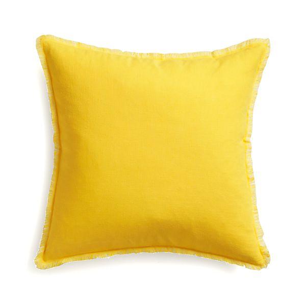 "Eyelash Yellow and White 20"" Pillow with Down-Alternative Insert"