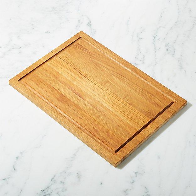 FSC Teak Large Rectangular Cutting Board with Well
