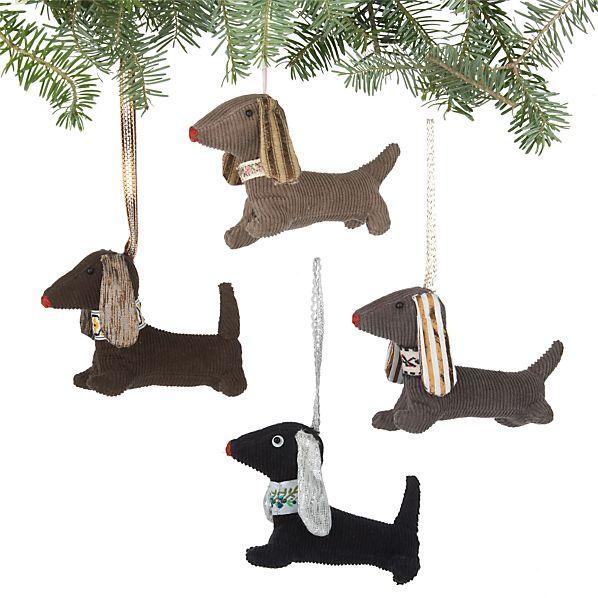 Set of 4 Fabric Dog Ornaments