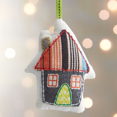 Fabric House with Striped Roof Ornament
