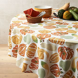 "Fall Harvest 90"" Round Tablecloth"