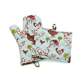 Farmhouse Hen Oven Mitt and Pot Holder