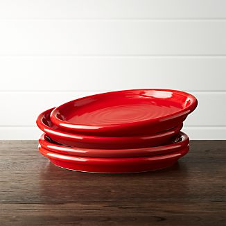 Set of 4 Farmhouse Red Salad Plates
