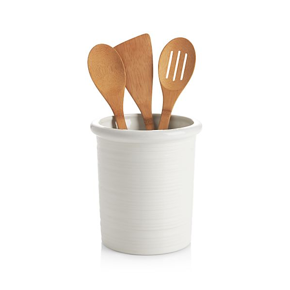 Farmhouse White Utensil Holder In Utility & Kitchen Helpers