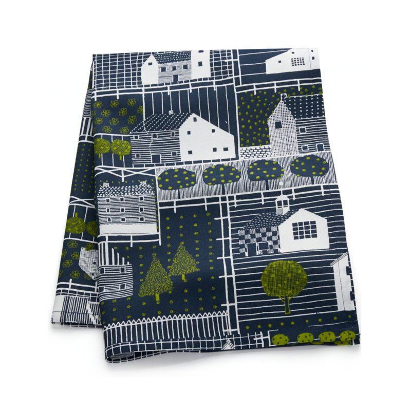 Farmhouse Village Blue-White Dish Towel