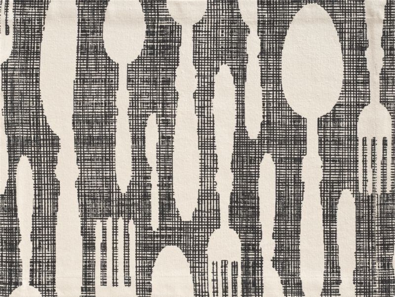 Whimsical design serves up knives, forks, and spoons reversed out on black sketched crosshatching. Neutral 100% cotton is screen printed to size and stitched.<br /><br /><NEWTAG/><ul><li>100% cotton</li><li>Machine wash; warm iron as needed</li></ul>