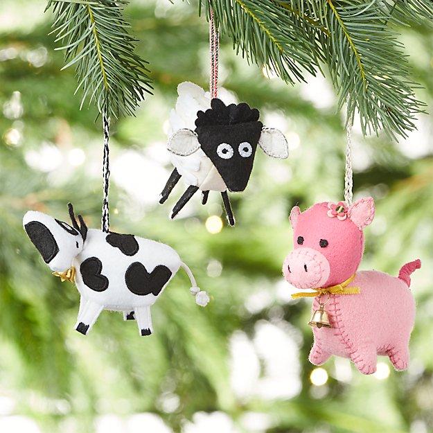 Farm Friend Felt Ornaments