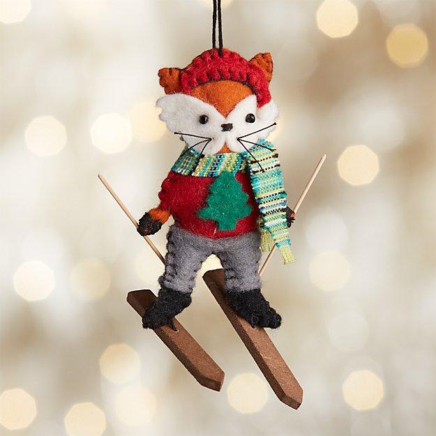 Fox on Skis Felt Ornament