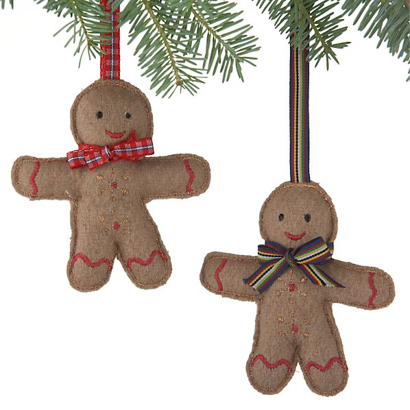 Set of 2 Felt Gingerbread Man Ornaments