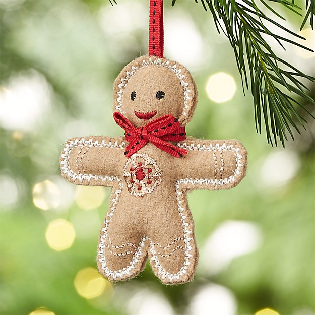 Gingerbread Man with Red Tie Felt Ornament