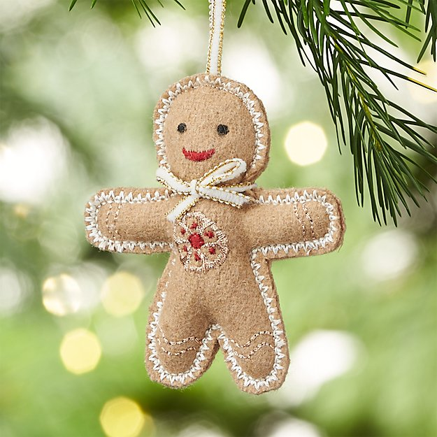 Gingerbread Man with White Tie Felt Ornament