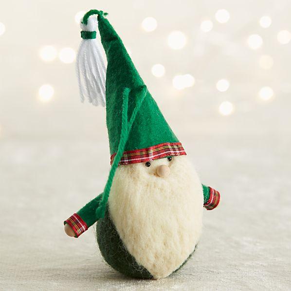 Emerald Green Felt Gnome Ornament