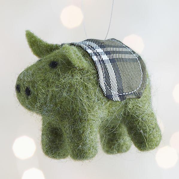 Green Felt Pig Ornament