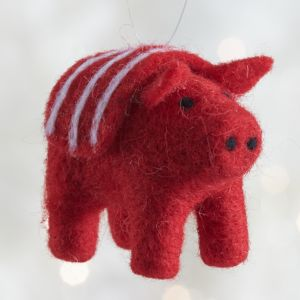 Red Felt Pig Ornament