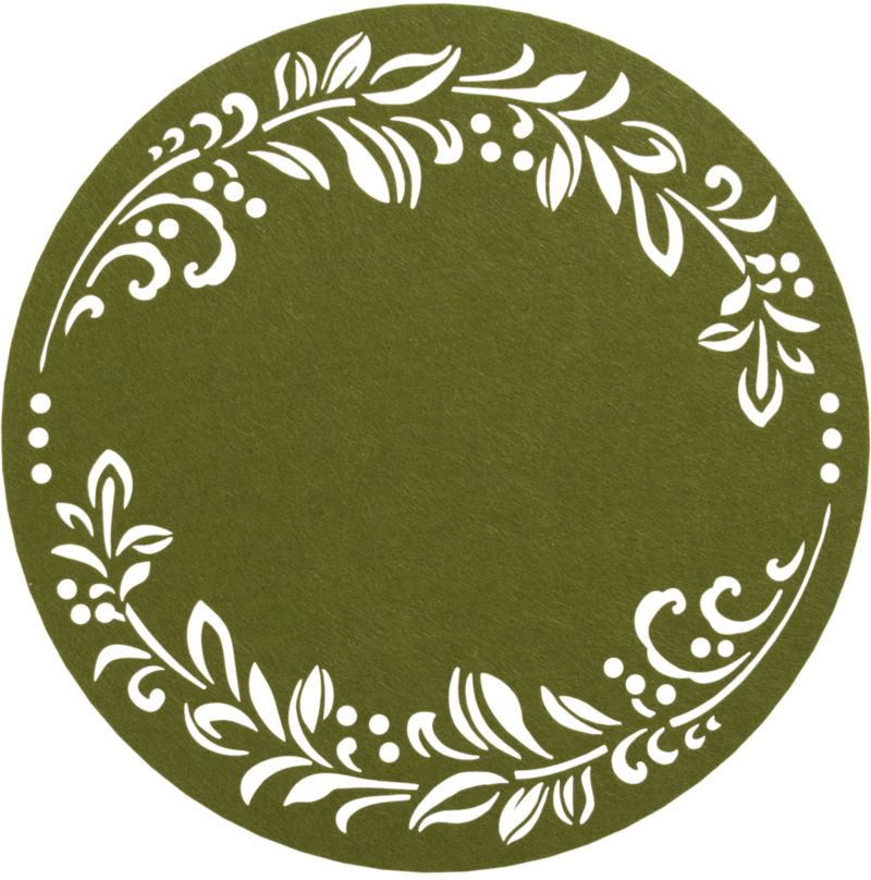 Verdant green round is wreathed with a delicate stamp-cut garland. Condensed polyester fibers are machine rolled to ensure a smooth surface and no curling at the edges.<br /><br /><NEWTAG/><ul><li>100% polyester</li><li>Wipe placemat clean with a damp cloth</li><li>Made in China</li></ul><br />